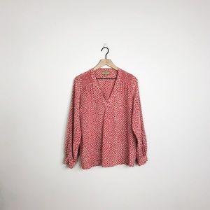 Anthropologie | Kachel red cream canela blouse